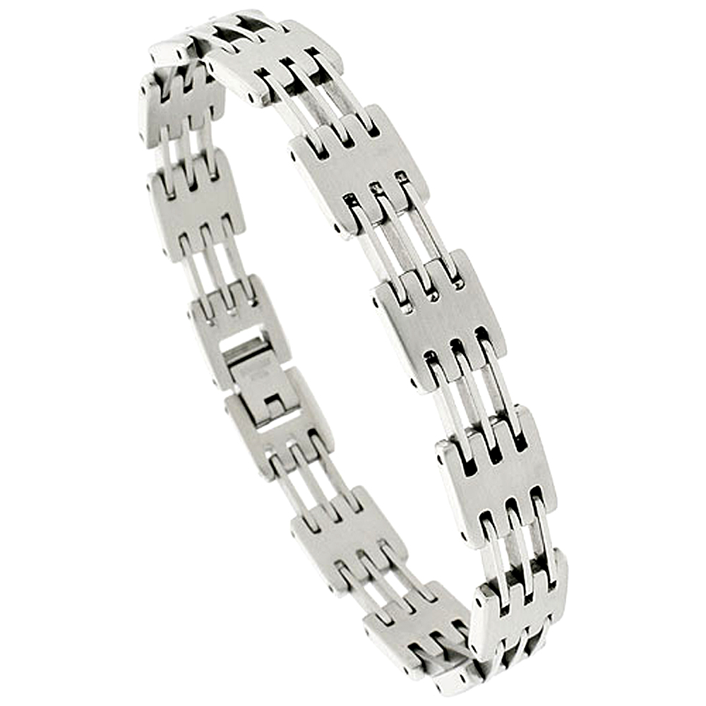 Stainless Steel Bar Bracelet For Men, 3/8 inch wide, 8 inch long