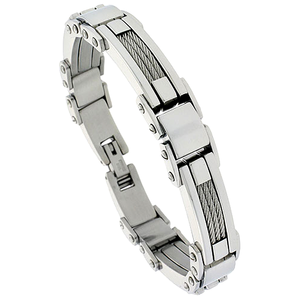 Stainless Steel Cable Bracelet For Men, 1/2 inch wide, 9 inch long