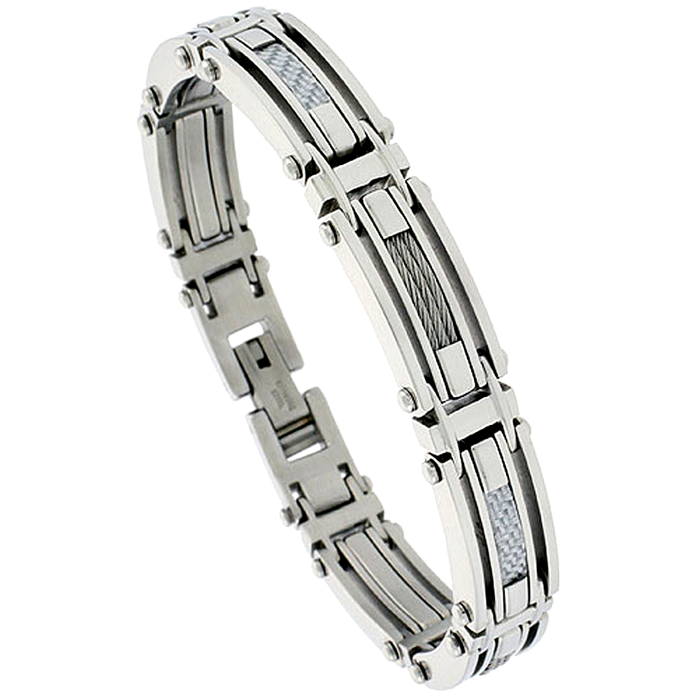 Stainless Steel Cable Bracelet For Men Gray Carbon Fiber , 1/2 inch wide,
