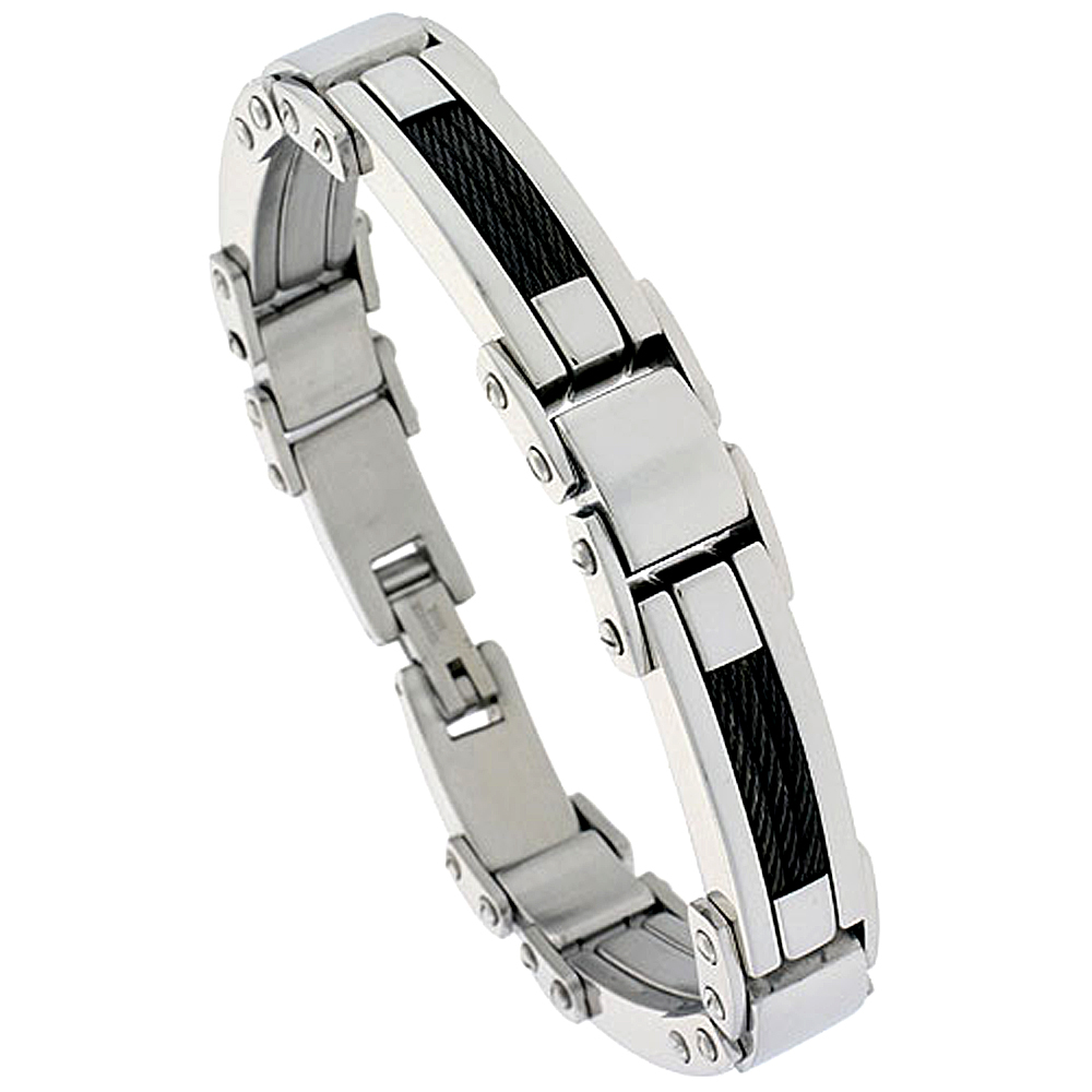 Stainless Steel Black Cable Bracelet For Men , 1/2 inch wide, 9 inch long