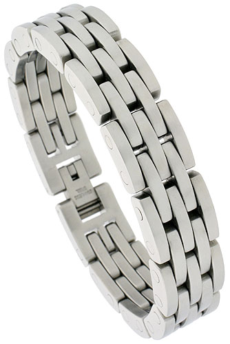 Stainless Steel Bracelet For Men Heavy Bar Links, 5/8 inch wide, 8 1/2 inch long