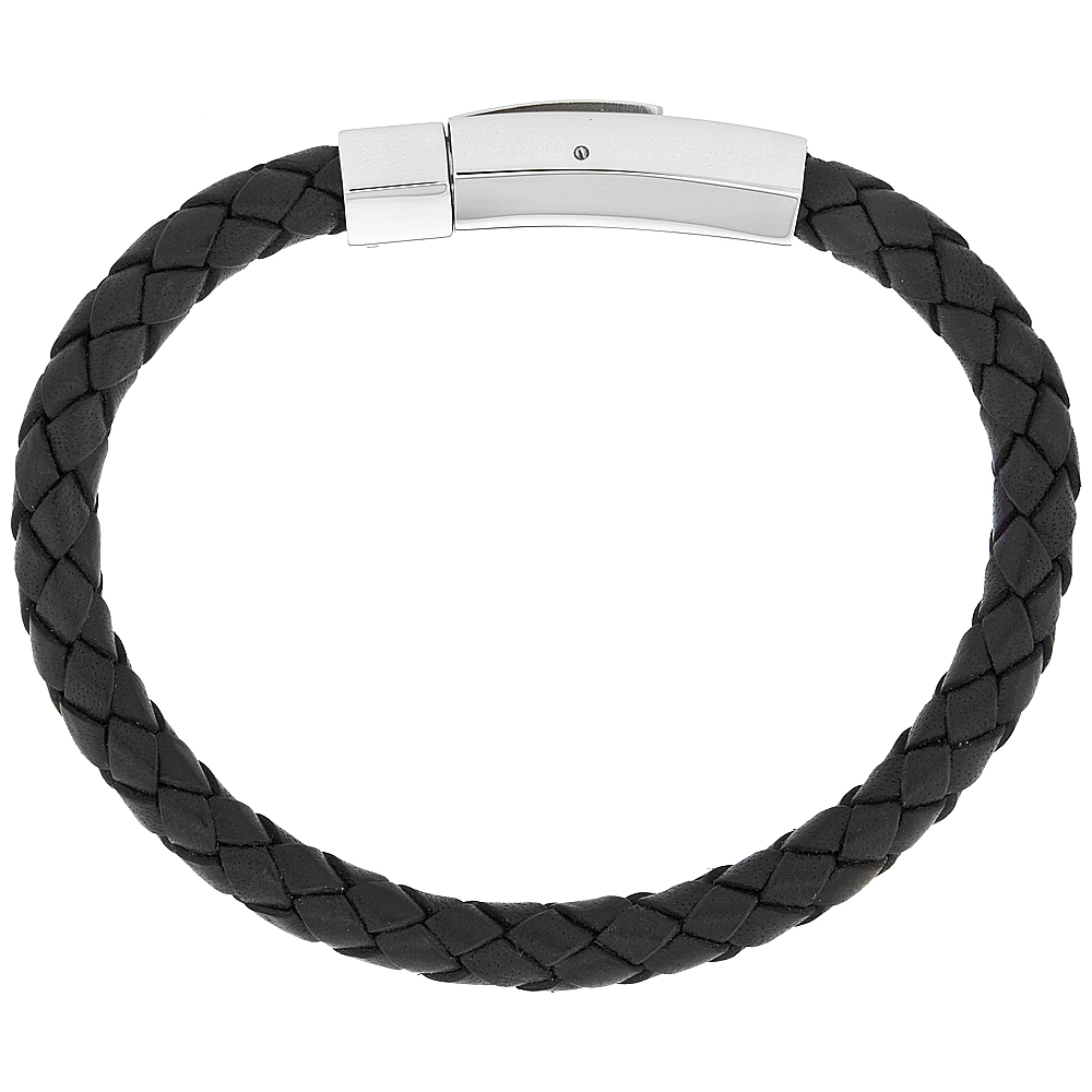 Black Braided Leather Bracelet For Men & Women Stainless Steel Clasp 5/16 inch wide, sizes 6.5 - 8 inch