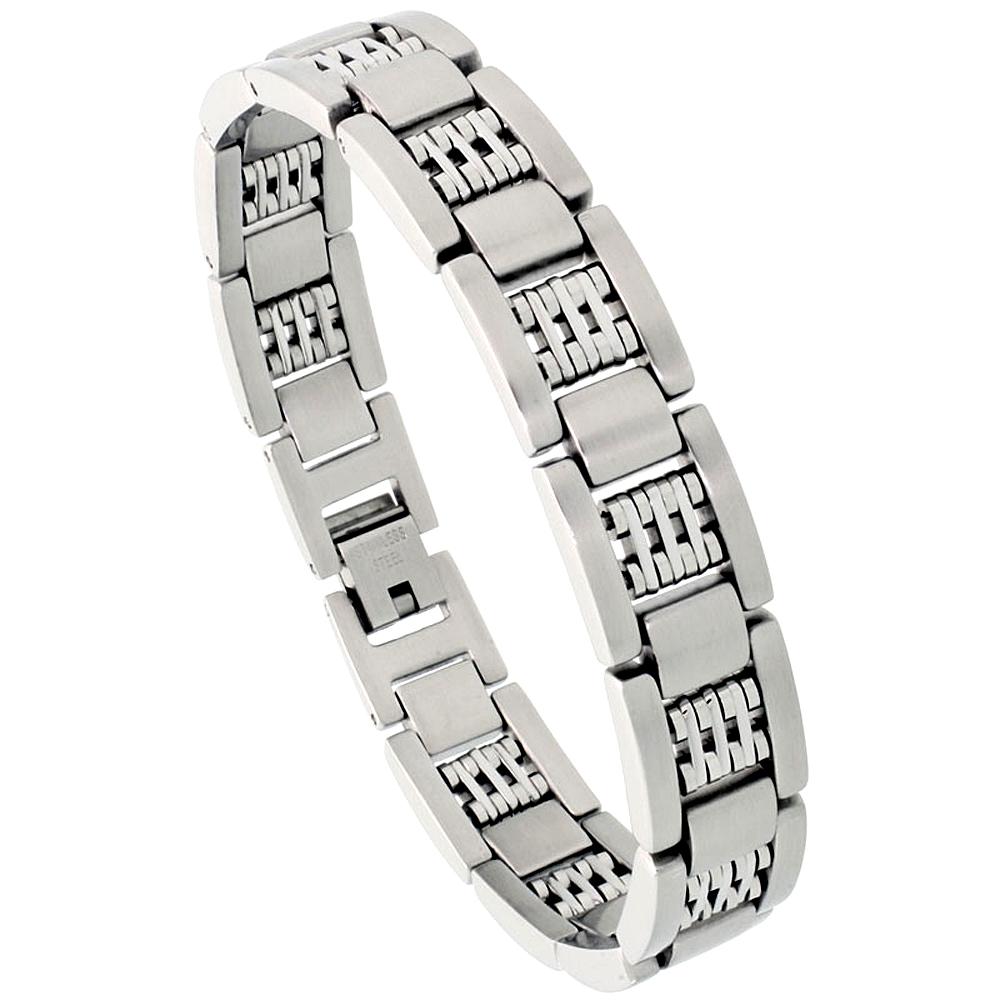 Stainless Steel Bar Bracelet For Men Satin Finish 1/2 inch wide, 8 inch long