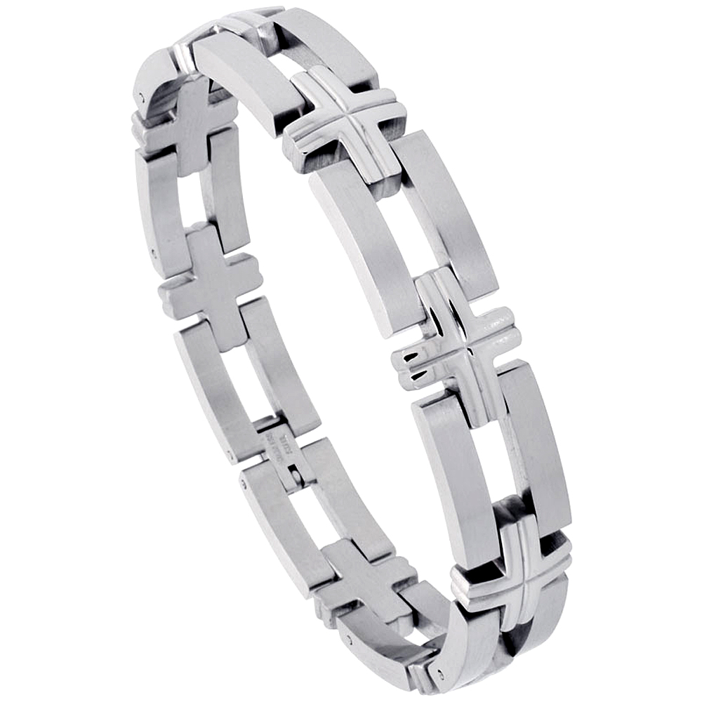 Stainless Steel Bracelet For Men, w/ Bars & Crosses 1/2 inch wide, 8 inch long