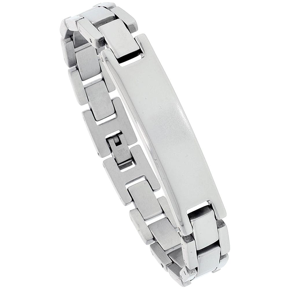 Stainless Steel ID Bracelet For Men 1/2 inch wide, 8.25 inch