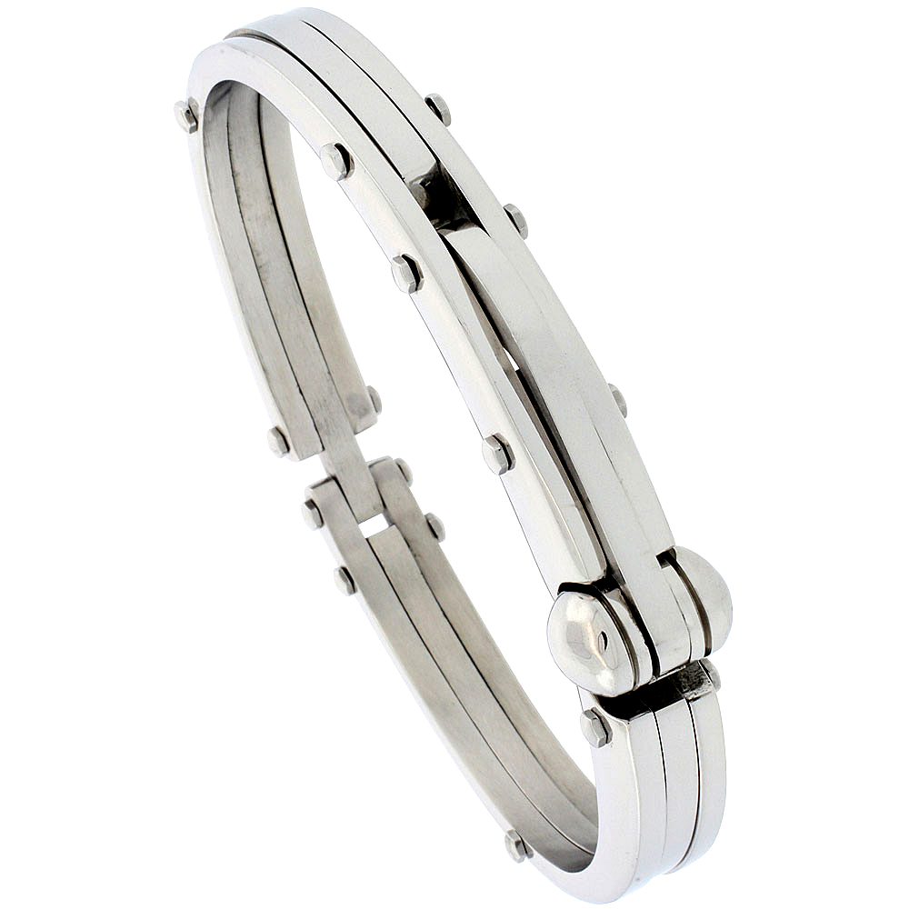 Stainless Steel Bangle Bracelet For Men, 1/2 inch wide, 8 1/2 inch long