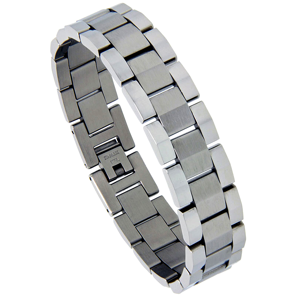Stainless Steel Rolex Style Link Bracelet for Men Matte Center 5/8 inch wide, 8.25 inch,