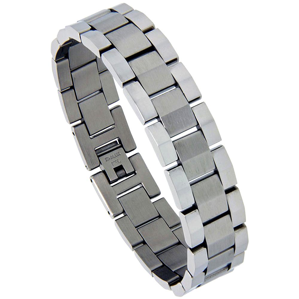 Stainless Steel Rolex Style Link Bracelet for Men Matte Center 5/8 inch wide, 8.25 inch,