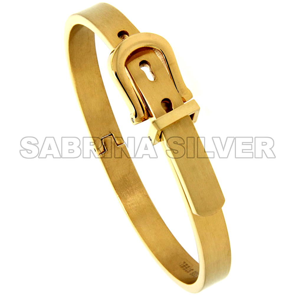 Stainless Steel Belt Buckle Bangle Bracelet for Women Gold Tone 7/16 inch wide, 7 inch