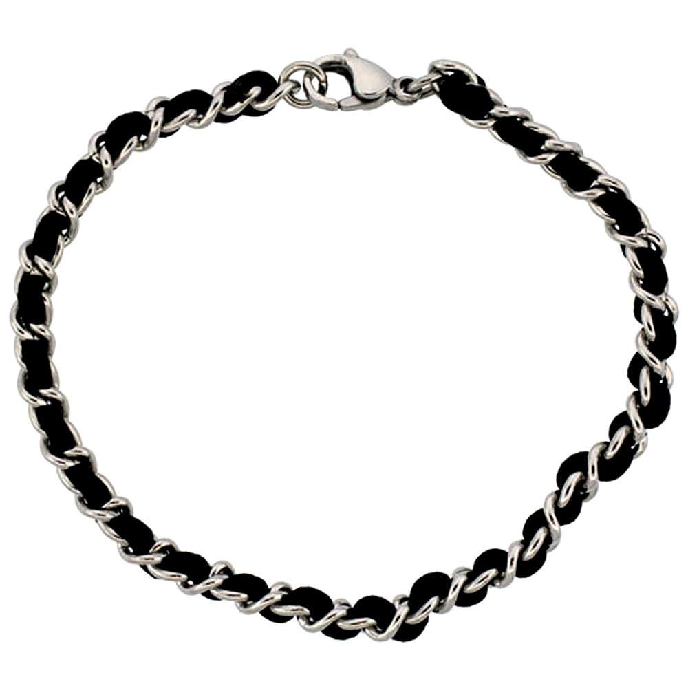 Stainless Steel Link Bracelet for Women Interwoven Black Satin Cord , 3/16 inch wide, 7 1/4 inch long
