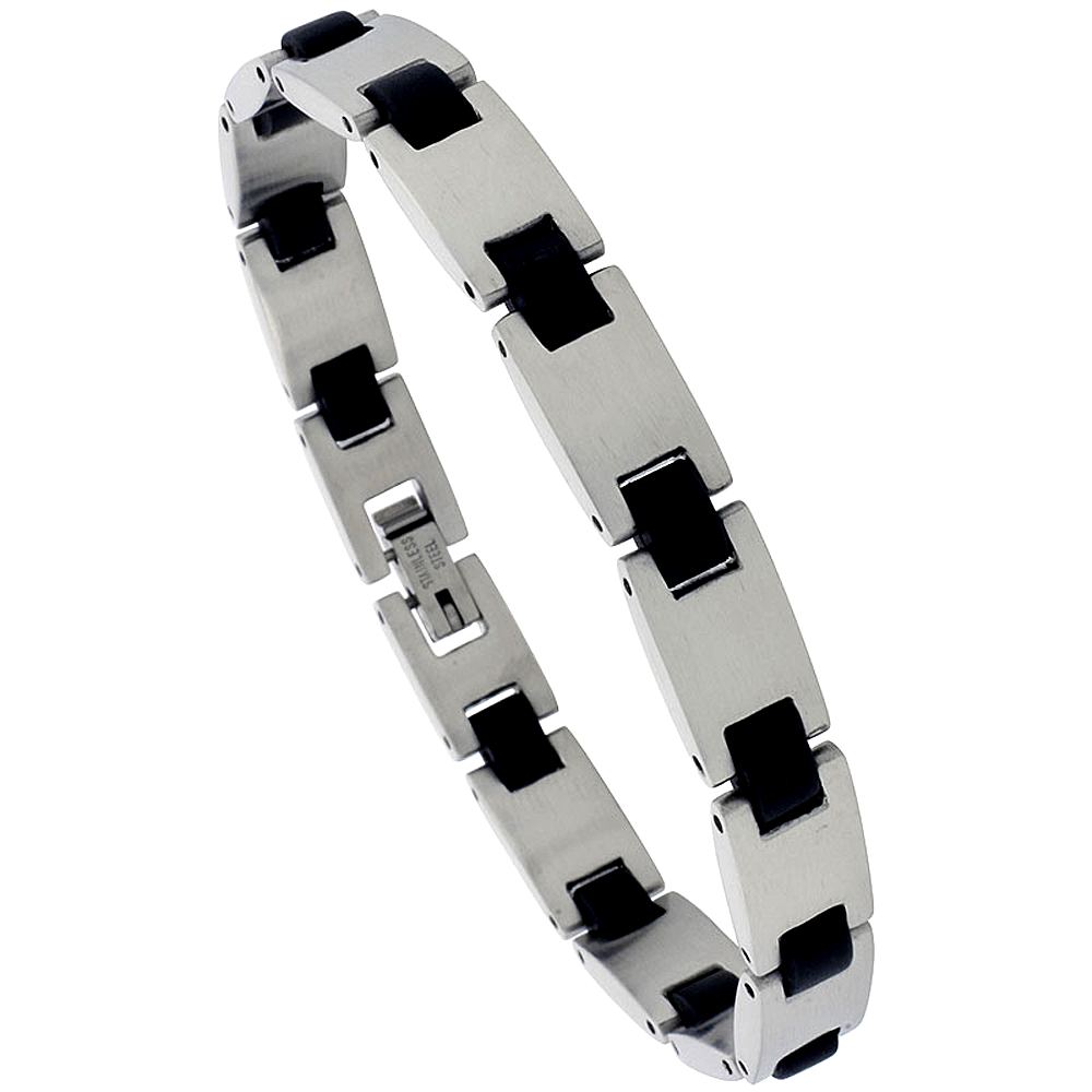 Stainless Steel Bracelet For Men Black Rubber Accent, 8 inch