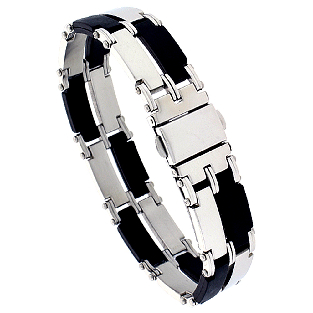 Stainless Steel Rectangular Link Bracelet For Men Black Rubber Accent 2-row, 8 inch long