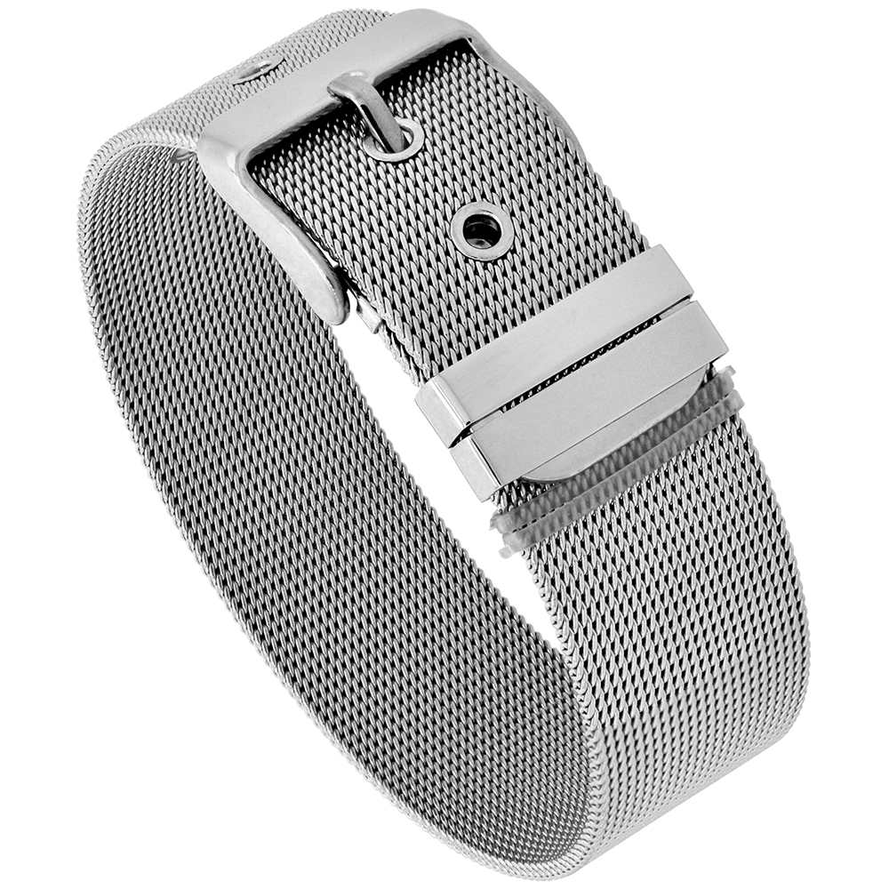 Stainless Steel Mesh Bracelet for Women Belt Buckle Clasp 18 mm wide, 7.5 inch