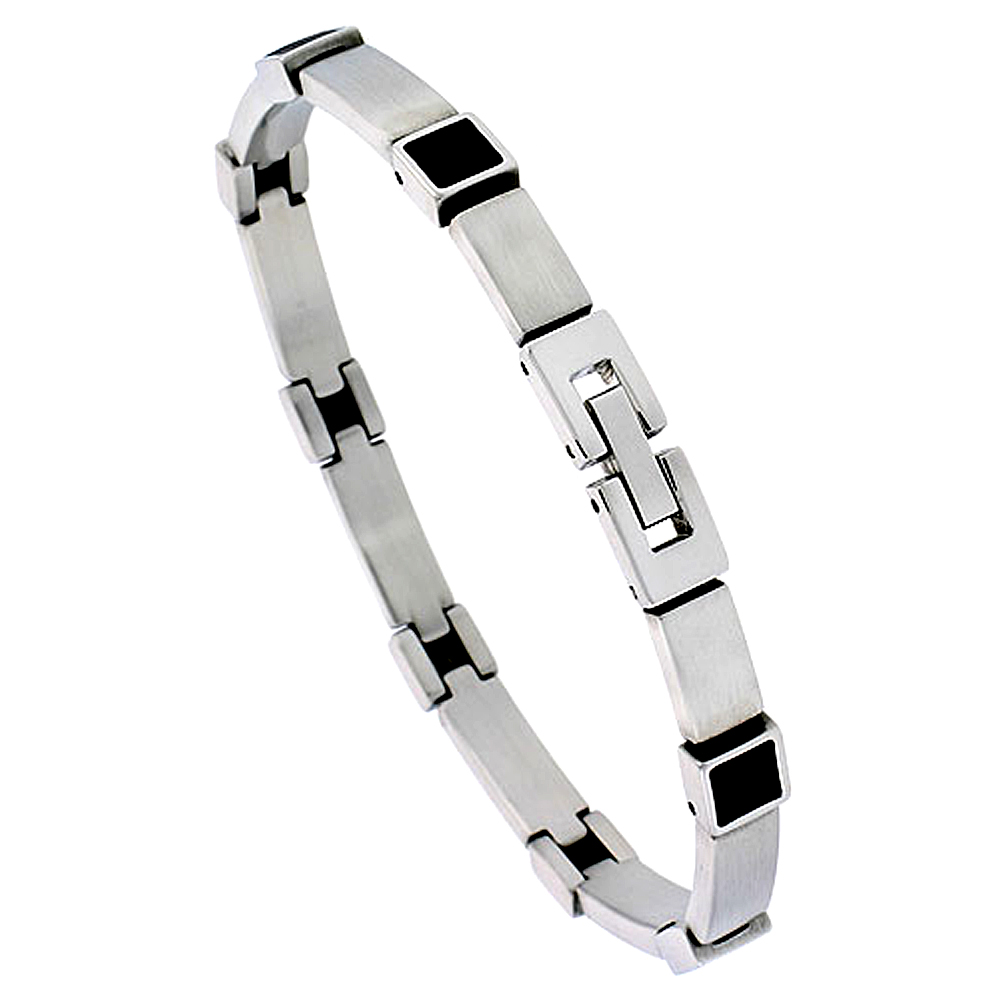 Stainless Steel Bracelet For Men with Black Rubber Accent, 8 inch long