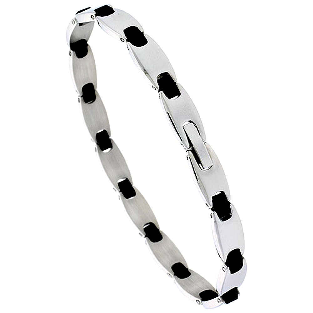 Stainless Steel Bracelet For Men Black Rubber Accent, 8 inch long