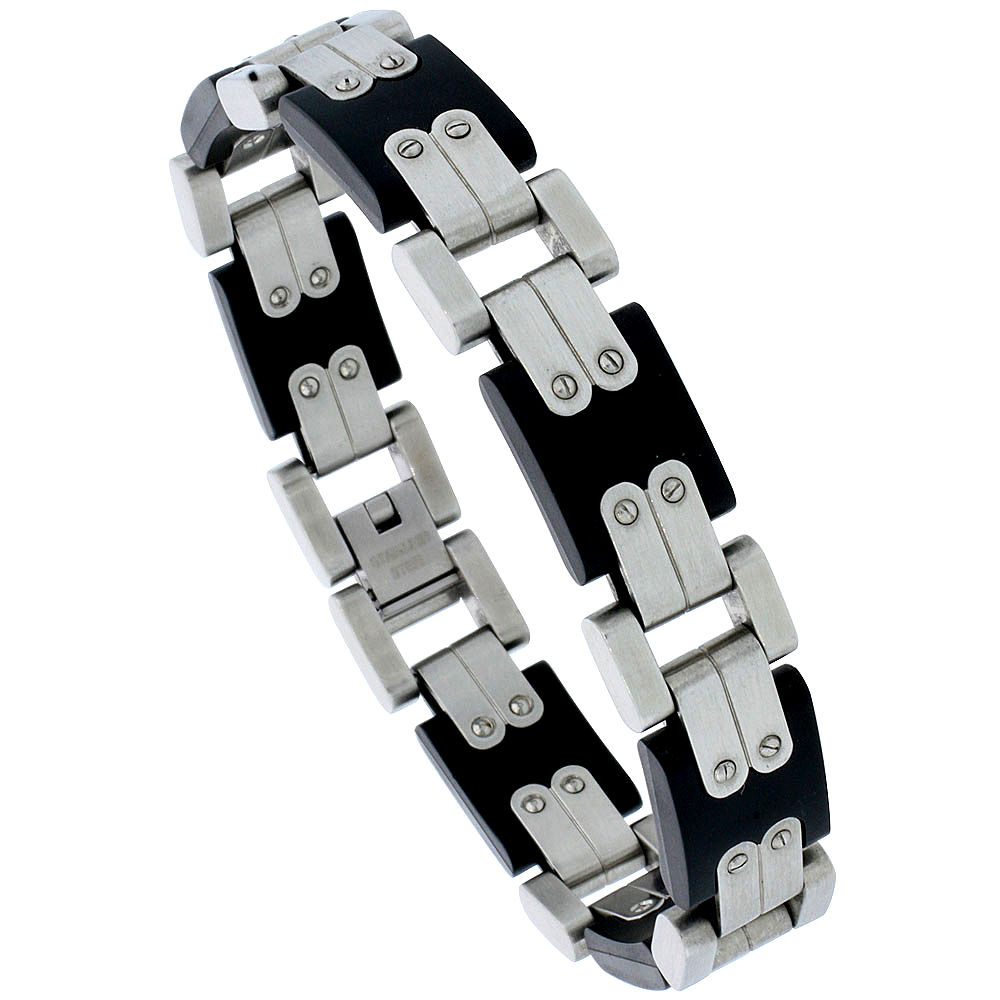 Stainless Steel Bracelet For Men Contemporary Design Black Rubber Accent, 8 inch long