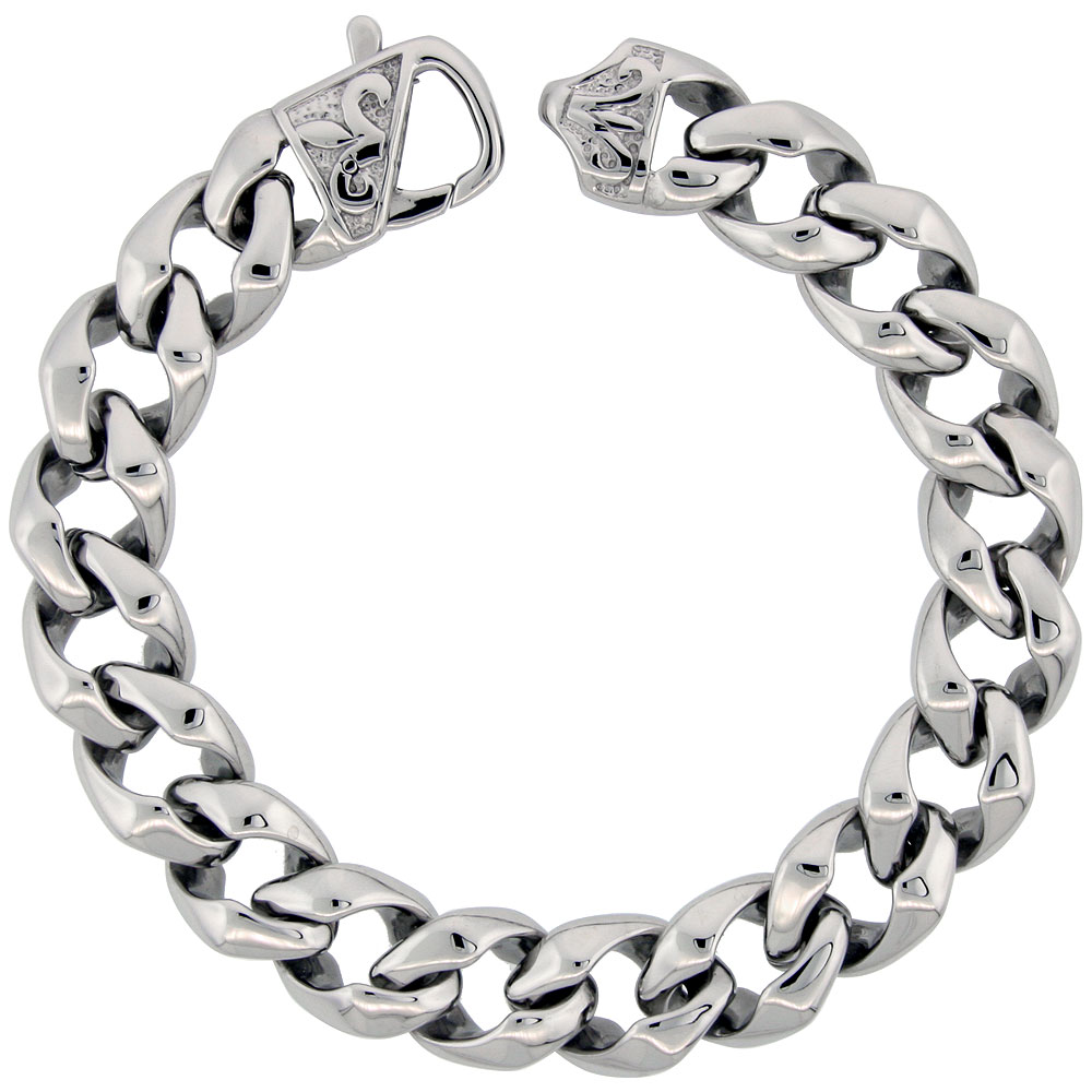 Stainless Steel Cuban Open Link Bracelet For Men Fleur De Lis Clasp Hefty Hand Made High polish, size 8.5 inch