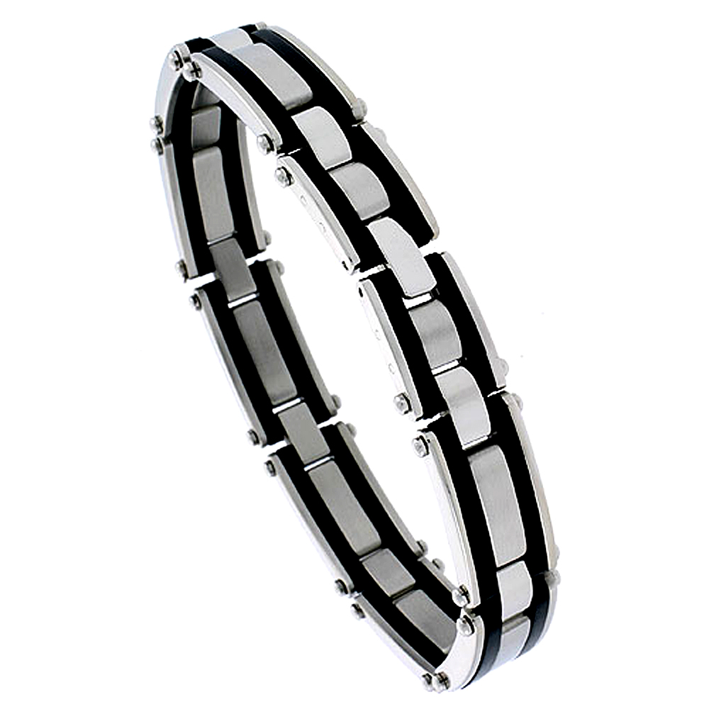 Stainless Steel Bracelet For Men Black Rubber Accent For Men 1/2 inch wide, 8 1/4 inch long
