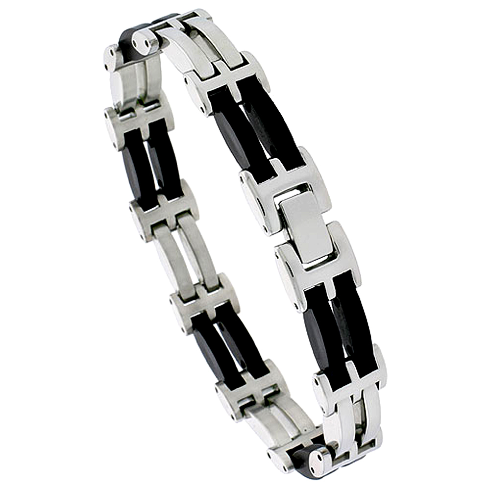 Stainless Steel Bracelet Black Rubber Accent For Men 2-row Convex Bar Links 1/2 inch wide, 8 inch long