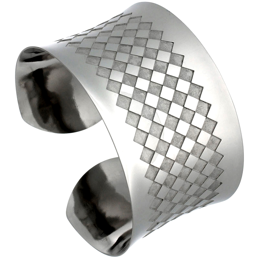 Stainless Wide Steel Cuff Bracelet for Women Etched Checkerboard Pattern 1 1/2 inch wide, size 7.5 inch