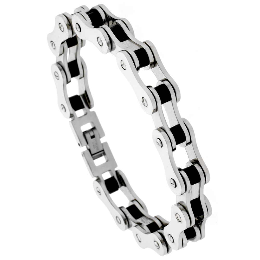 Stainless Steel Bicycle Chain Bracelet For Men Black Rubber Accent 1/2 inch wide,