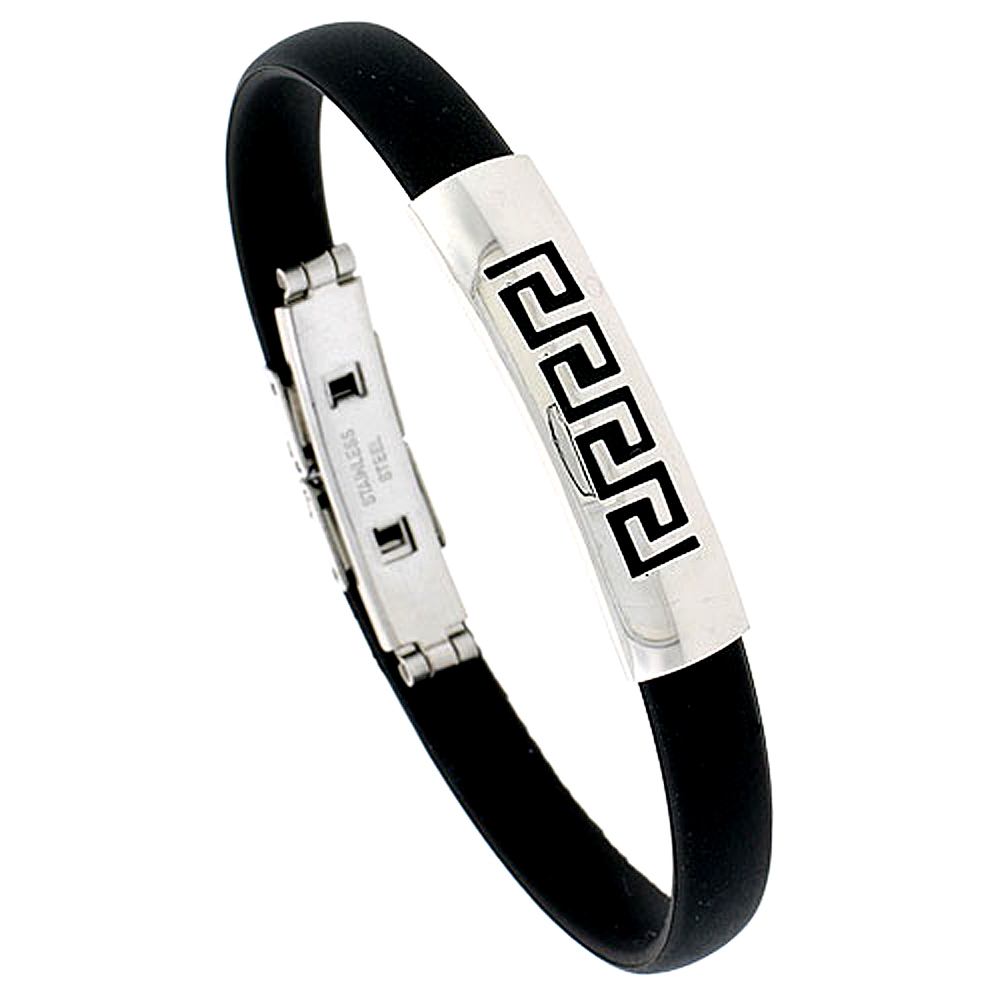 Stainless Steel Greek Key Bangle Bracelet For Men Black Rubber Accent 3/8 inch wide, sizes 8 - 8 1/2 inch