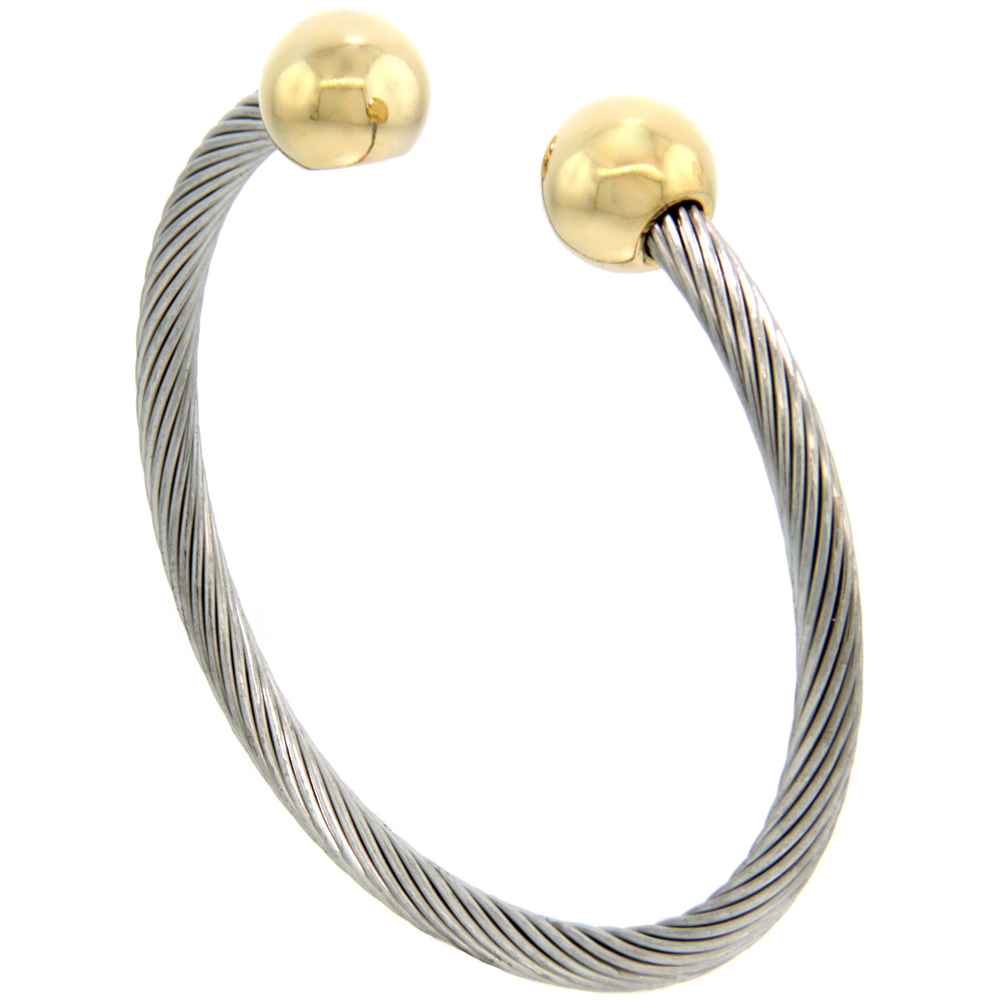 Stainless Steel Cable Golf Bracelet for Women Gold-tone Bio Magnetic Ball Ends , 7 inch