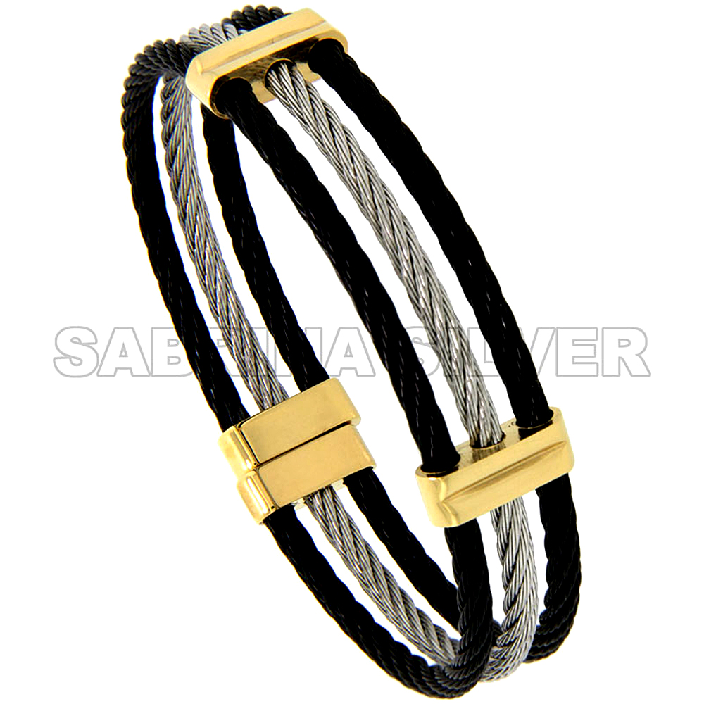 Stainless Steel Cable Cuff Bracelet For Women 3-Tone, 7 inch