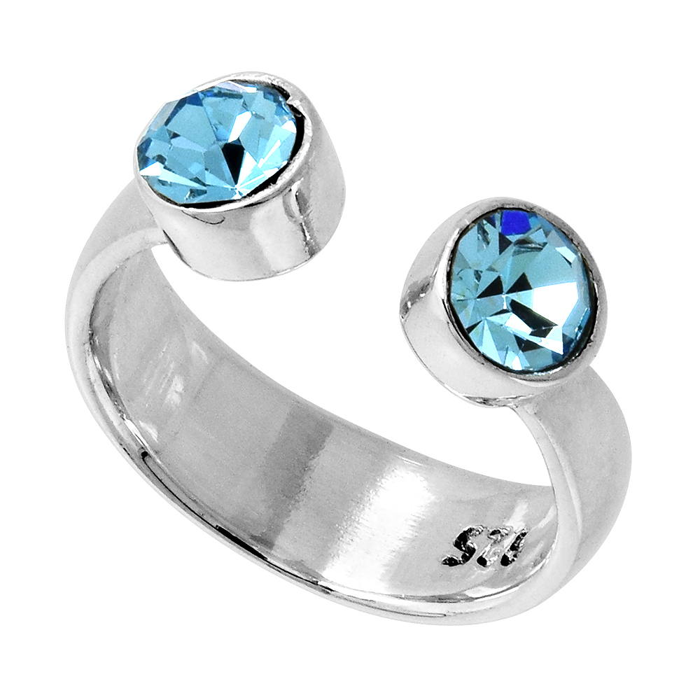 Aquamarine-colored Crystals (March Birthstone) Adjustable Toe Ring / Kid's Ring in Sterling Silver, sizes 2 to 4