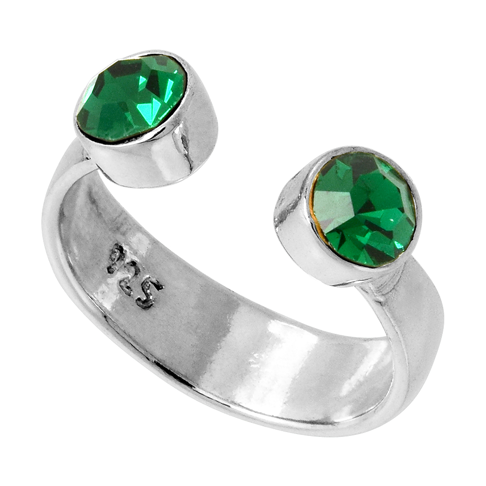 Emerald-colored Crystals (May Birthstone) Adjustable Toe Ring / Kid's Ring in Sterling Silver, sizes 2 to 4