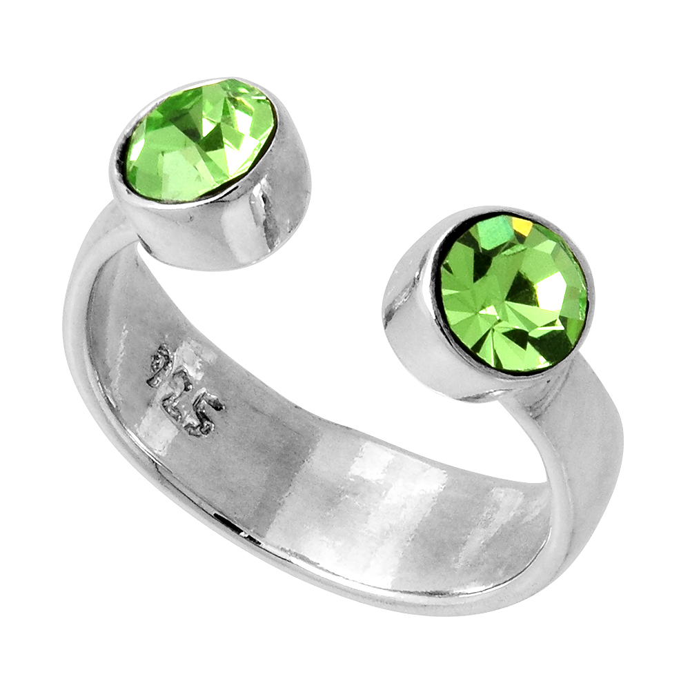 Peridot-colored Crystals (August Birthstone) Adjustable Toe Ring / Kid's Ring in Sterling Silver, sizes 2 to 4