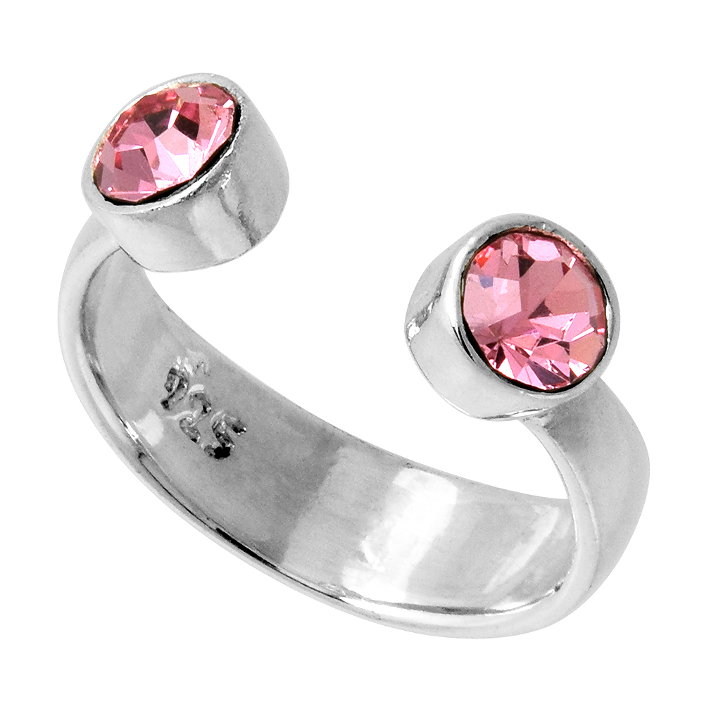 Pink Tourmaline-colored Crystals (October Birthstone) Adjustable Toe Ring / Kid's Ring in Sterling Silver, sizes 2 to 4