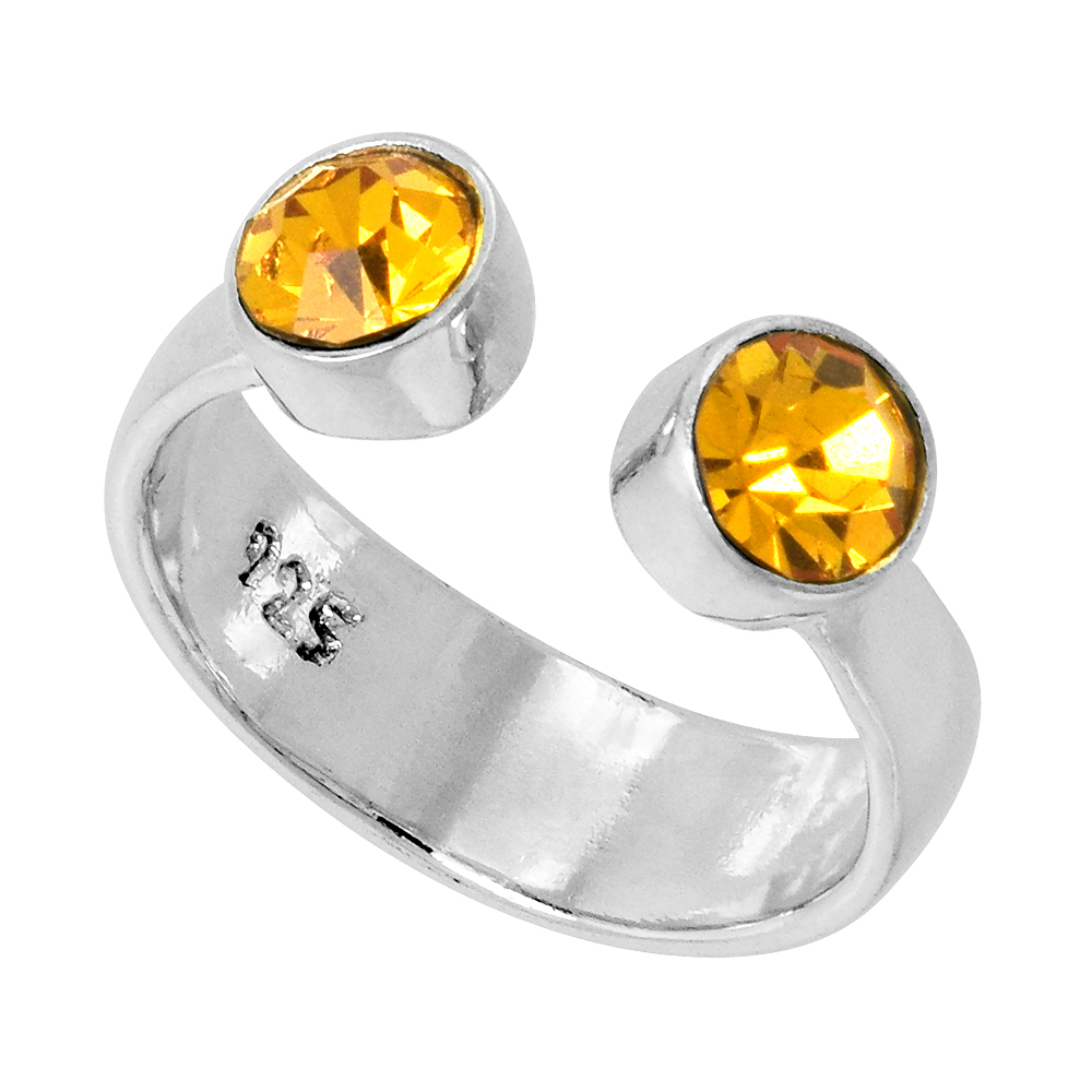 Citrine-colored Crystals (November Birthstone) Adjustable Toe Ring / Kid's Ring in Sterling Silver, sizes 2 to 4