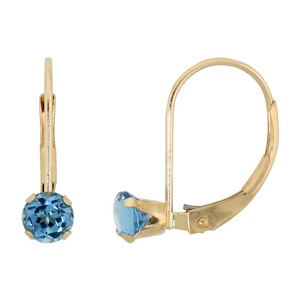 10k Yellow Gold Natural Blue Topaz Leverback Earrings 1/2 ct Brilliant Cut December Birthstone, 9/16 inch long