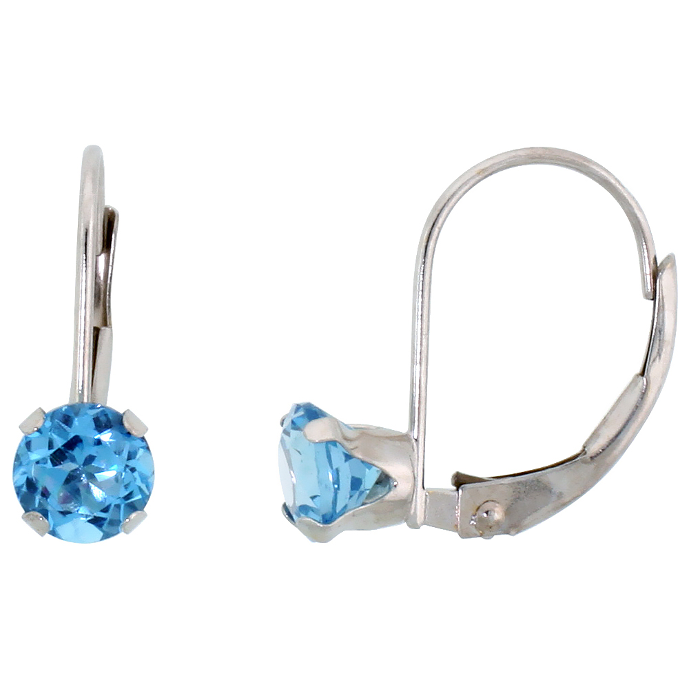 10k White Gold Natural Blue Topaz Leverback Earrings 5mm Brilliant Cut December Birthstone, 9/16 inch long