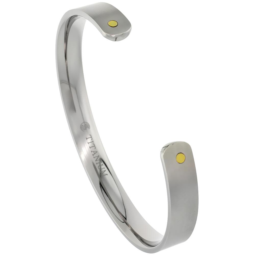8 mm Flat Titanium Cuff Bracelet for Men & Women Gold Dot Ends Matte finish Comfort-fit 8 inch Wrist size 5/16 inch wide