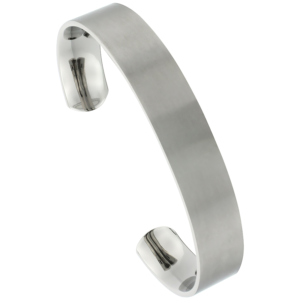 Titanium Flat Cuff Bangle Bracelet Gold Dot Ends Matte finish Comfort-fit, 8 inch long 12 mm 1/2 inch wide
