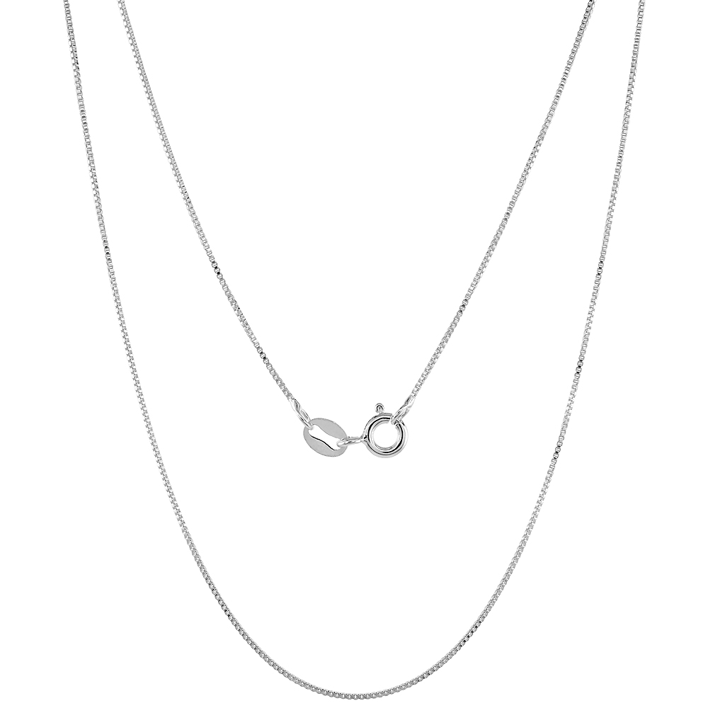 Sterling Silver Box Chain Necklace 0.7mm Very Fine Nickel Free Italy, Sizes 16 - 18 inch