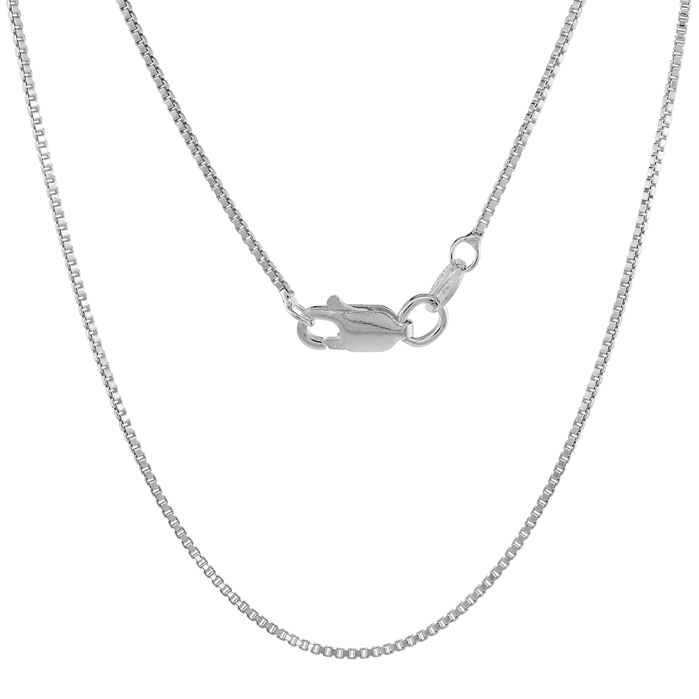 Sterling Silver Box Chain Necklace 1mm with lobster claw clasp Nickel Free Italy, Sizes 16 - 30 inch