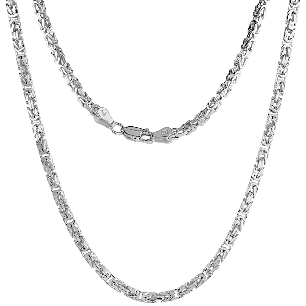 Sterling Silver SQUARE BYZANTINE Chain Necklaces & Bracelets 2.6mm Nickel Free Italy, sizes 7 - 30 inch