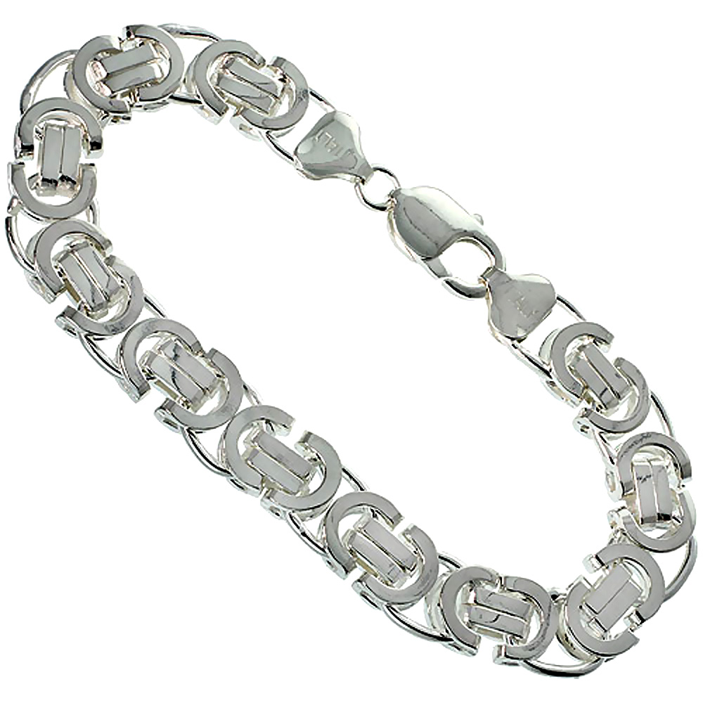 Sterling Silver FLAT BYZANTINE Chain Necklaces & Bracelets 11.5mm Heavy, sizes 8 - 26 inches