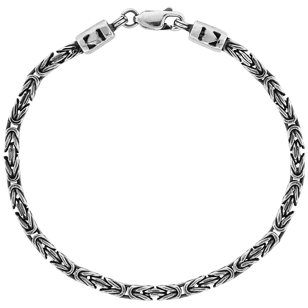 Sterling Silver Square BYZANTINE Chain Necklaces & Bracelets 3mm Antiqued Finish Nickel Free, 7-30 inch