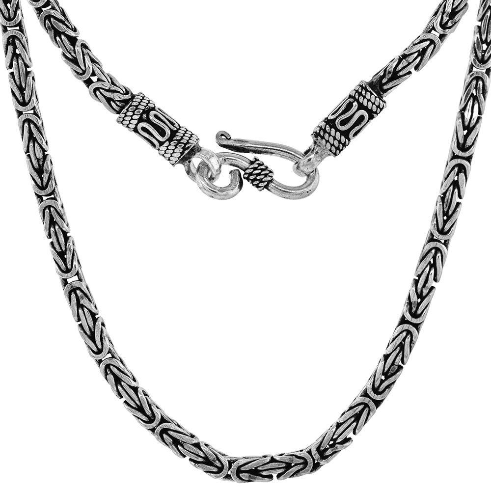 3mm Sterling Silver Square BYZANTINE Chain Necklaces & Bracelets 3mm Antiqued Finish Nickel Free, 7-30 inch