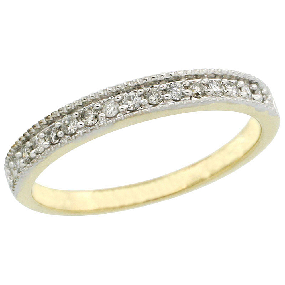 14k Gold Ladies' 3mm Diamond Wedding Ring Band w/ 0.168 Carat Brilliant Cut Diamonds
