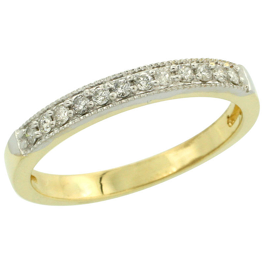 14k Gold 2.5mm Diamond Wedding Ring Band w/ 0.176 Carat Brilliant Cut Diamonds