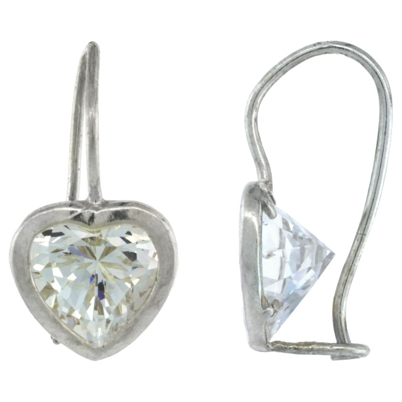 Sterling Silver 9mm Heart CZ Hook Earrings 13/16 in. (21 mm) tall