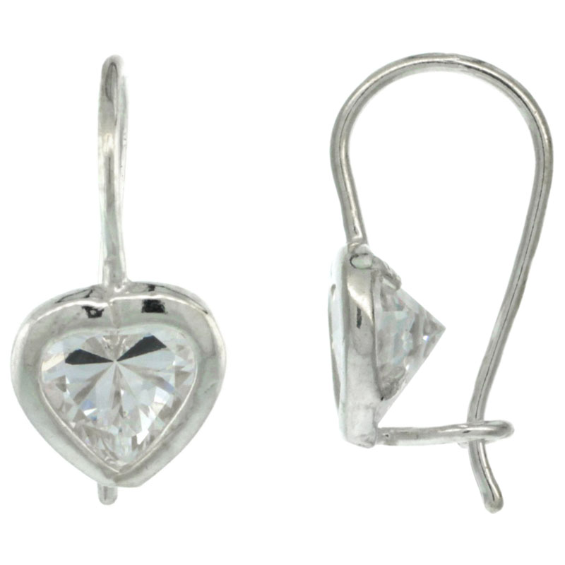 Sterling Silver 7mm Heart CZ Hook Earrings 3/4 in. (19 mm) tall