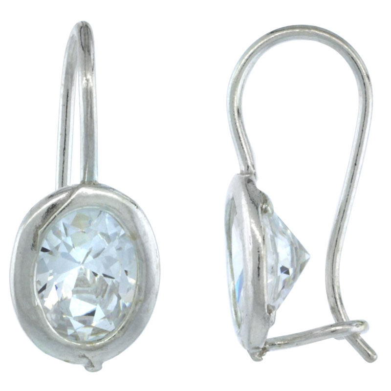 Sterling Silver 9x7mm Oval CZ Hook Earrings 13/16 in. (20 mm) tall