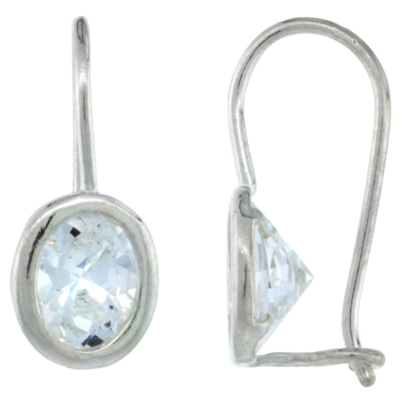 Sterling Silver 8x6mm Oval CZ Hook Earrings 13/16 in. (20 mm) tall