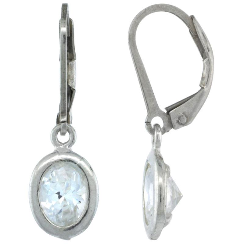 Sterling Silver 7x5mm Oval CZ Lever Back Earrings 7/8 in. (22 mm) tall
